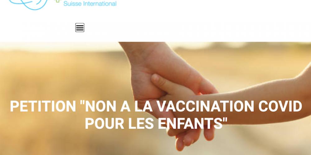 Réinfo Santé Suisse lance une pétition contre la vaccination génique pour les enfants
