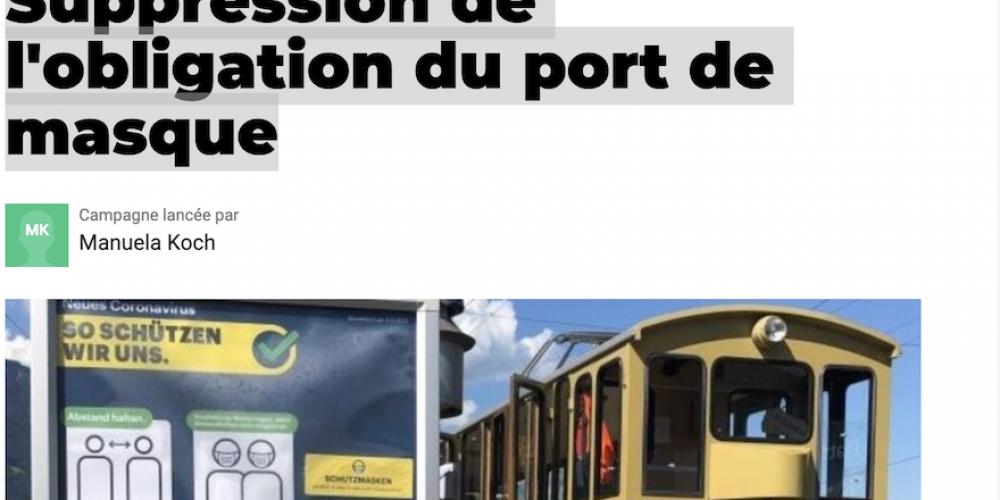 Pétition «Suppression de l'obligation du port de masque» – Suisse