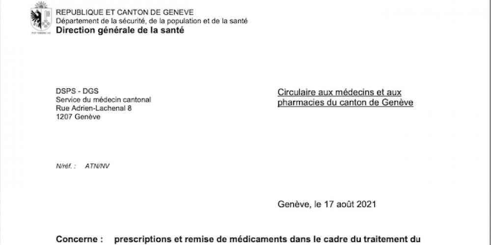Genève menace les médecins qui prescriraient de l'ivermectine
